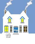 Social Media Icon House: digg