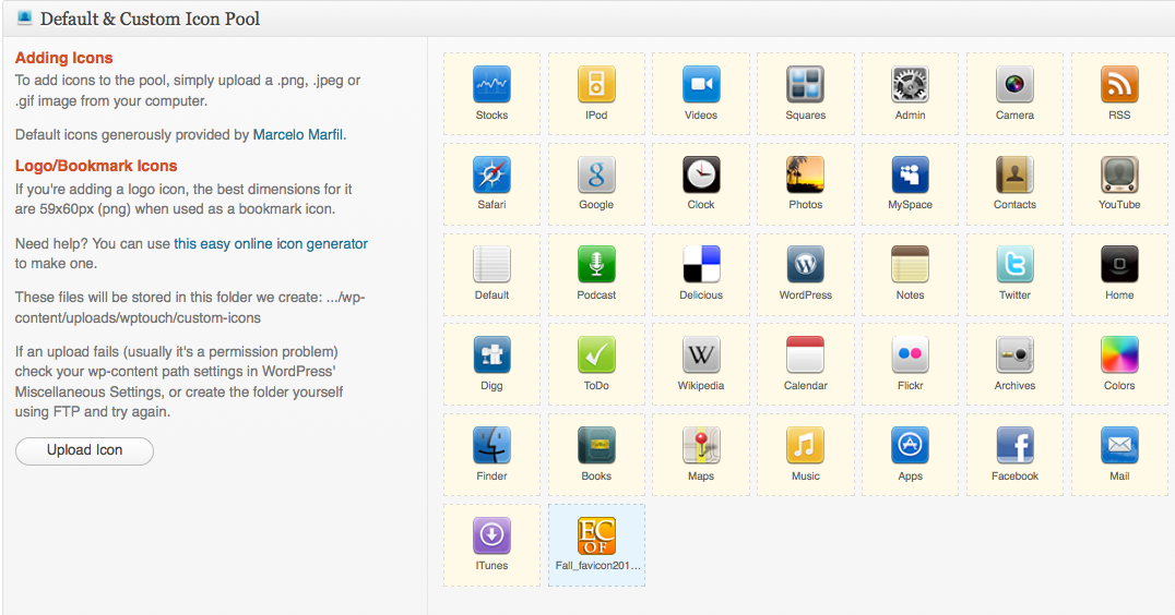 Screenshot of Icon Pool in WPtouch settings section