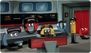 Screenshot of StarTrek 46th Anniversary Google Doodle