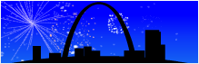 Screenshot of Silouette of The Arch in Saint Louis, Missouri with Fireworks display