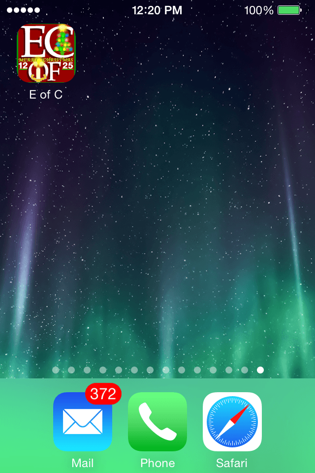 Screenshot of E of C (Elements of Coldfusion dot-net) Smartphone Bookmark Icon, December, 2014 edition.